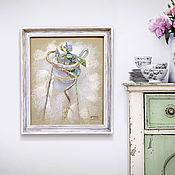 Картины и панно ручной работы. Ярмарка Мастеров - ручная работа картина пастелью Натюрморт с цветком (в состаренной раме). Handmade.