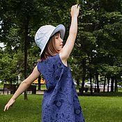 Работы для детей, ручной работы. Ярмарка Мастеров - ручная работа Синее жаккардовое платье-сарафан для девочки 4,5,6,7,8 лет. Handmade.