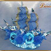 """Цветы и флористика ручной работы. Ярмарка Мастеров - ручная работа Букет из конфет """"Синий бриз"""". Handmade."""