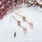 Украшения handmade. Livemaster - original item Long gold earrings with openwork beads and pink chalcedony. Handmade.