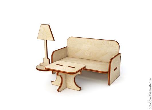 Куклы и игрушки ручной работы. Ярмарка Мастеров - ручная работа. Купить КМ-0000015 Кукольный набор мебели диван торшер и столик  заготовка. Handmade.