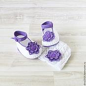 Работы для детей, handmade. Livemaster - original item Panama, booties for girls, sets for girls, white, lilac. Handmade.