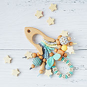 Одежда handmade. Livemaster - original item Teething toy-rocket with the name of your baby) blue, grey, mint, yellow. Handmade.