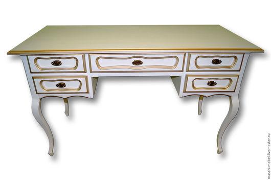 """Мебель ручной работы. Ярмарка Мастеров - ручная работа. Купить Стол письменный """"Мой Дядя"""" (большой) белый с золотой патиной. Handmade."""