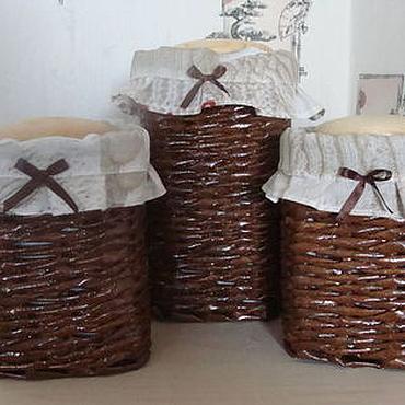 Для дома и интерьера ручной работы. Ярмарка Мастеров - ручная работа Корзинки  плетеные под баночки для круп. Handmade.