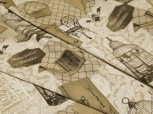 Ткань Прованс Романтический Сад. Прованский стиль. Портьерная ткань. Клетка для птиц. Шторы на заказ.