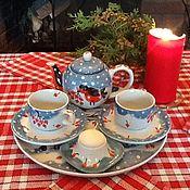 """Подарки ручной работы. Ярмарка Мастеров - ручная работа «Снегири. Первый снег."""" Чайный сервиз для двоих.. Handmade."""