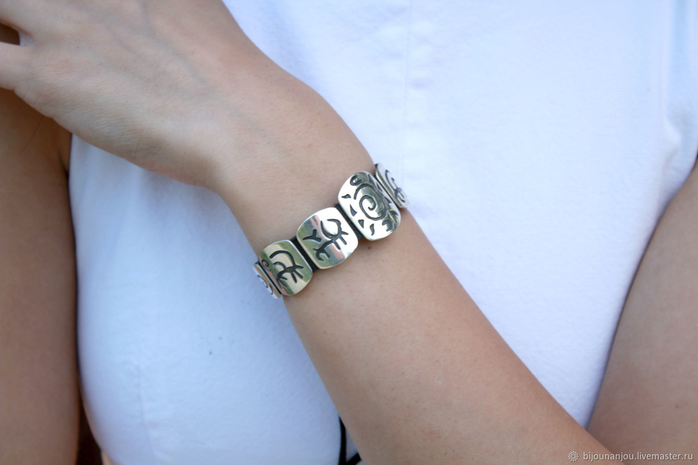 Leather bracelet with silver inserts Rock Paintings RO0003, Bead bracelet, Yerevan,  Фото №1