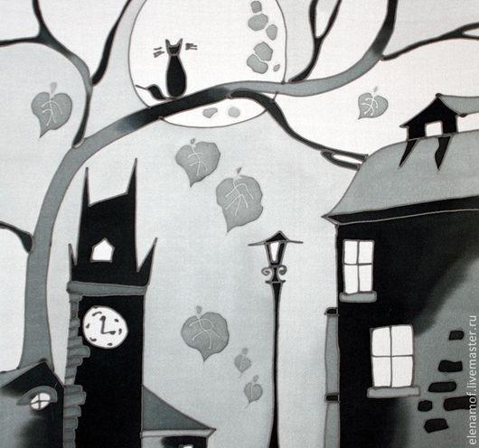 Текстиль, ковры ручной работы. Ярмарка Мастеров - ручная работа. Купить Подушка Чёрнобелый город. Handmade. Подушка, шёлковая подушка