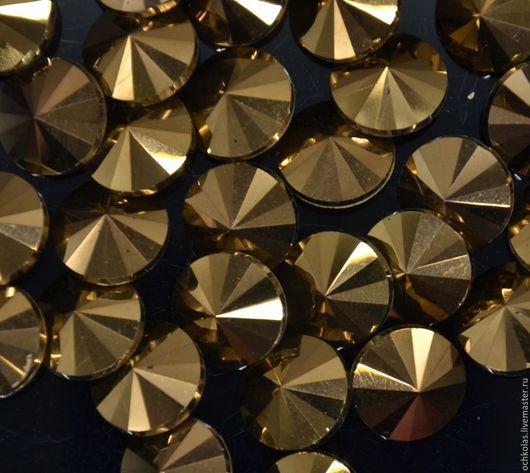 Для украшений ручной работы. Ярмарка Мастеров - ручная работа. Купить Риволи 14 мм бронза. Handmade. Золотой, стразы