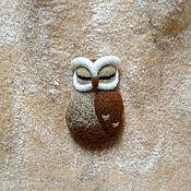 Украшения ручной работы. Ярмарка Мастеров - ручная работа Войлочная брошь сова. Handmade.