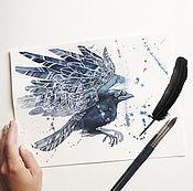 Картины и панно handmade. Livemaster - original item Watercolor painting, Space Raven. Handmade.