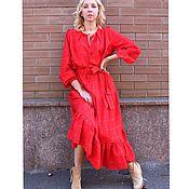 Одежда ручной работы. Ярмарка Мастеров - ручная работа Красное шерсть платье. Handmade.