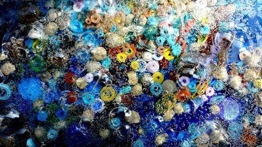 """Абстракция ручной работы. Ярмарка Мастеров - ручная работа. Купить Объемная картина """"О чем шепчет море"""".. Handmade. Синий"""
