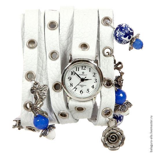 """Часы ручной работы. Ярмарка Мастеров - ручная работа. Купить Часы """"Туман"""". Handmade. Белый, браслет, часы на кожаном ремне"""