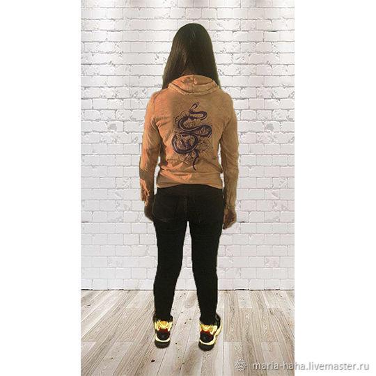 Свитшот толстовка с ручной росписью тату змея цветы, Свитшоты, Санкт-Петербург,  Фото №1