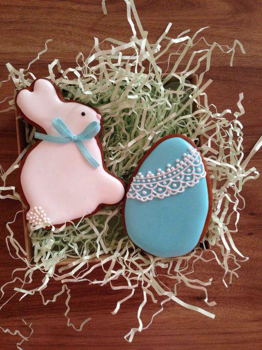 Кулинарные сувениры ручной работы. Ярмарка Мастеров - ручная работа. Купить Расписные пряники на Пасху( кролик+ яйцо). Handmade. Пасха