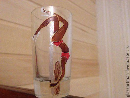 Рюмки ручной работы. Ярмарка Мастеров - ручная работа. Купить Декоративная рюмка Pole dance, роспись по стеклу. Handmade. Коричневый