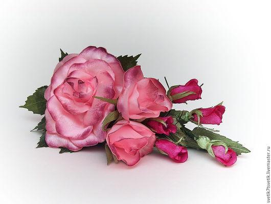 """Заколки ручной работы. Ярмарка Мастеров - ручная работа. Купить Зажим для волос """"Розовые розы"""". Handmade. Розовый, розы"""