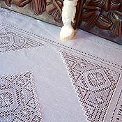 Для дома и интерьера ручной работы. Ярмарка Мастеров - ручная работа Скатерть с ручной вышивкой белым по белому. Handmade.