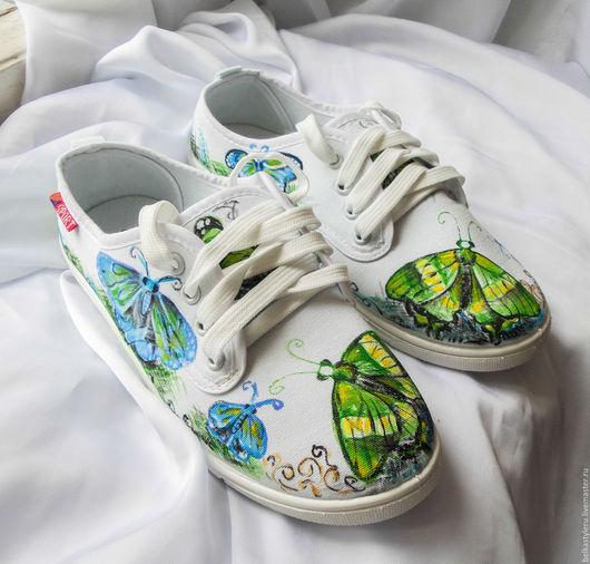 """Обувь ручной работы. Ярмарка Мастеров - ручная работа. Купить Кеды """" Бабочки"""", кеды с рисунком, роспись кед.. Handmade."""