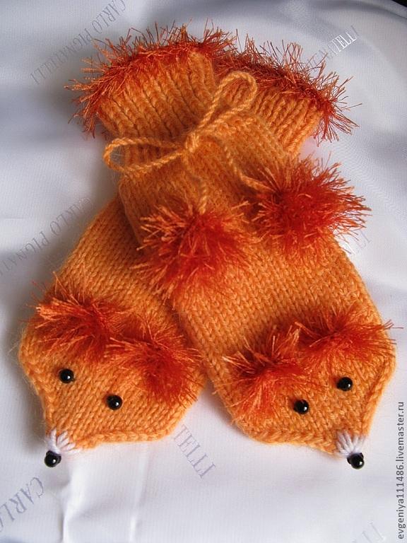 Варежки детские Лисички-сестрички,купить вязаные варежки ...