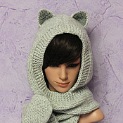 Аксессуары handmade. Livemaster - original item Hood-scarf with ears Cat mittens, knitted womens grey. Handmade.