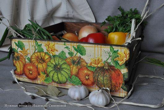 """Корзины, коробы ручной работы. Ярмарка Мастеров - ручная работа. Купить Короб для овощей """"Тыквы"""". Handmade. Коричневый, Короб деревянный"""