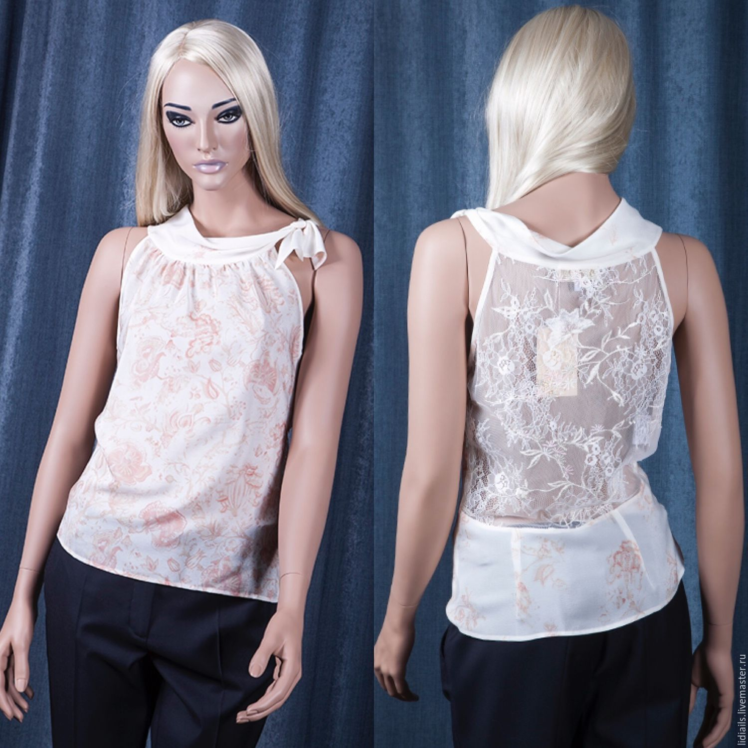 Blouse in silk crepe with lace, Blouses, Nizhny Novgorod,  Фото №1
