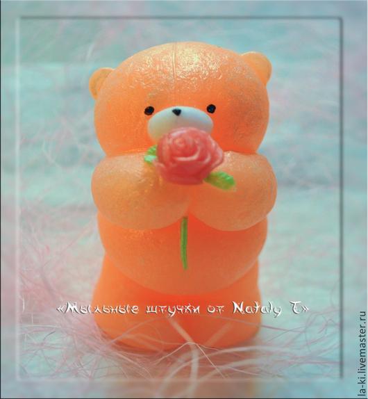"""Мыло ручной работы. Ярмарка Мастеров - ручная работа. Купить Мыло """"Мишка с розой"""". Handmade. Разноцветный, медведь, мыло сувенирное"""