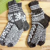 Аксессуары handmade. Livemaster - original item Socks: down knitted with a jacquard Snowflake pattern, handmade 120. Handmade.