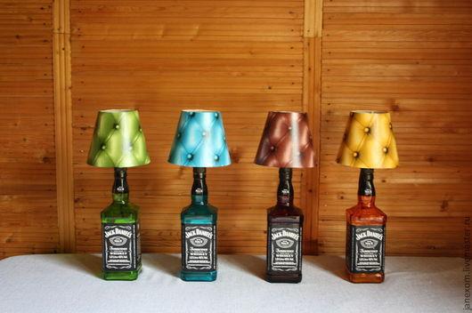 Освещение ручной работы. Ярмарка Мастеров - ручная работа. Купить Лампы. Handmade. Бутылка, настольная лампа, подарок мужчине, кожаный
