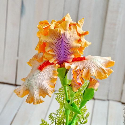 """Цветы ручной работы. Ярмарка Мастеров - ручная работа. Купить Цветок ириса """"Персик"""". Handmade. Оранжевый, цветы, украшение для интерьера"""