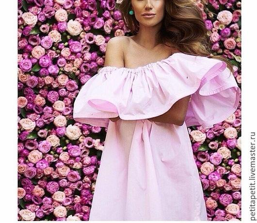 Платья ручной работы. Ярмарка Мастеров - ручная работа. Купить Воздушное розовое хлопковое платье с воланом. Handmade. Бледно-розовый