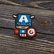 Украшения handmade. Livemaster - original item Wooden icon Captain America. Handmade.