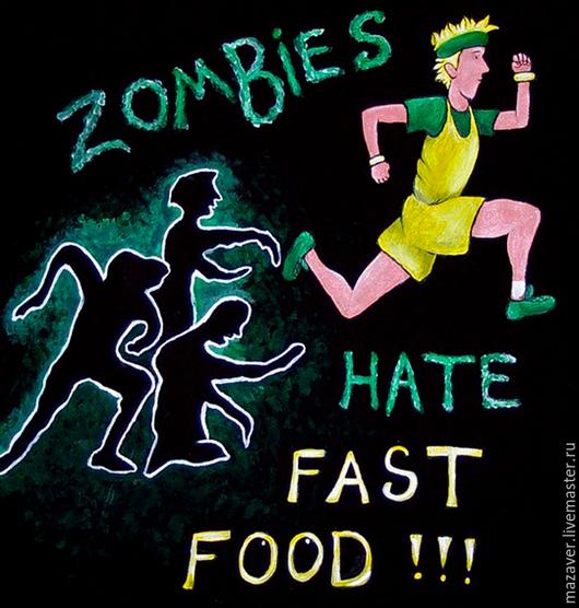 """Футболки, майки ручной работы. Ярмарка Мастеров - ручная работа. Купить Футболка """"Зомби ненавидят быструю еду!"""". Handmade. Черный"""