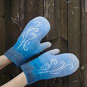 Аксессуары handmade. Livemaster - original item Mittens felt Frost blue. Handmade.