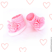 Работы для детей, handmade. Livemaster - original item booties for girls, winter boots, booties pink. Handmade.