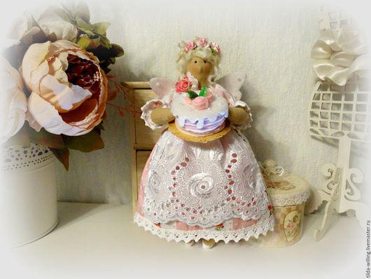 Куклы Тильды ручной работы. Ярмарка Мастеров - ручная работа. Купить Домашняя Фея Клубника со сливками. Handmade. Розовый