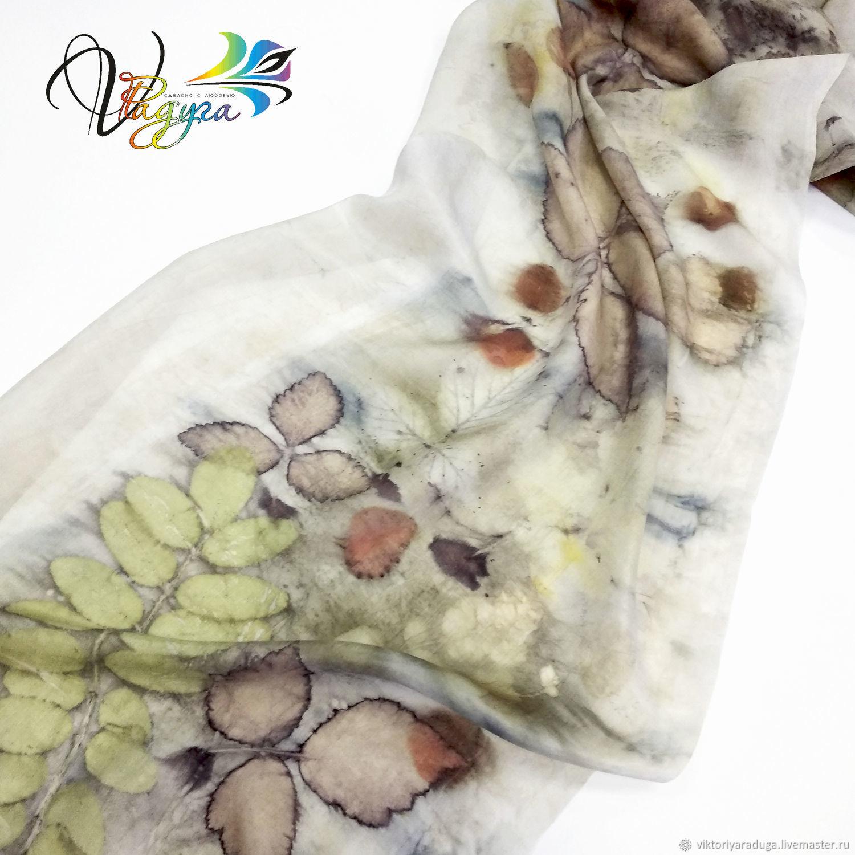 Scarf silk, ekoprint, Scarves, Slavsk,  Фото №1