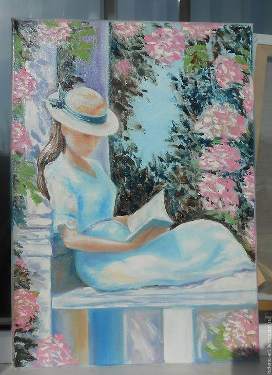 """Люди, ручной работы. Ярмарка Мастеров - ручная работа. Купить Картина маслом """"В беседке""""50х70,девушка,лето,беседка,цветы. Handmade."""