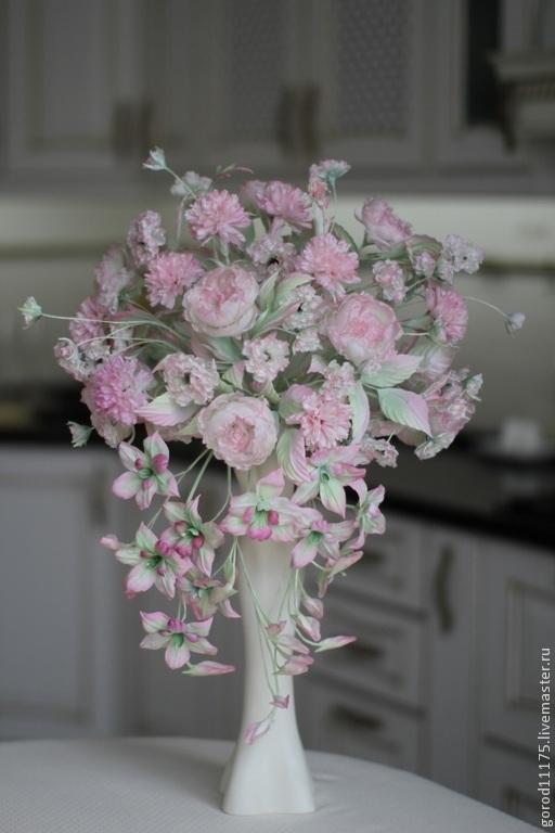 """Цветы ручной работы. Ярмарка Мастеров - ручная работа. Купить Букет из натурального шелка"""" Розовый свадебный"""".. Handmade. Розовый, орхидеи"""