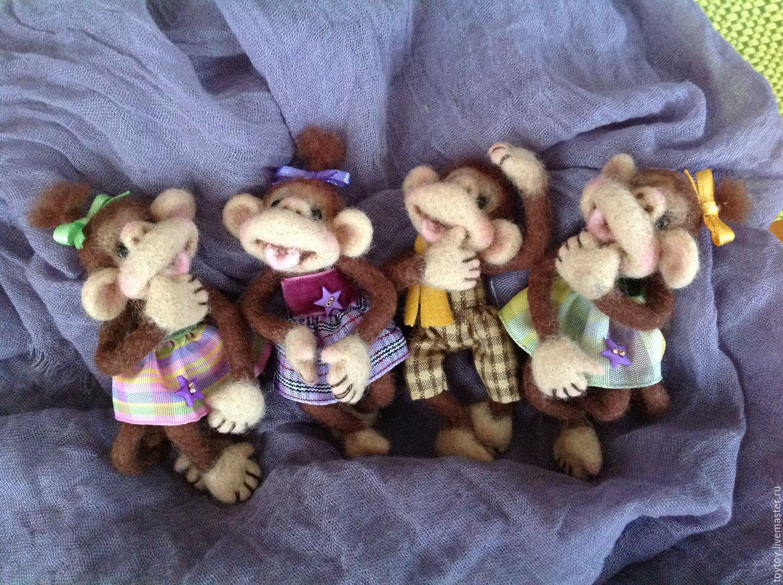 Брошки-игрушки Веселые обезьянки, Мини фигурки и статуэтки, Москва,  Фото №1