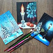 """Картины и панно ручной работы. Ярмарка Мастеров - ручная работа Картина набор """"Новогодний"""" (цена за все 3 картины) миниатюры на холсте. Handmade."""