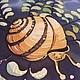 """Шарфы и шарфики ручной работы. Шарфик из шелка """"Где живет улитка..."""", батик. Марина Михеева. Ярмарка Мастеров. Водоросли"""
