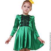 """Платье ручной работы. Ярмарка Мастеров - ручная работа Платье для девочки """"Изумрудный блеск"""". Handmade."""