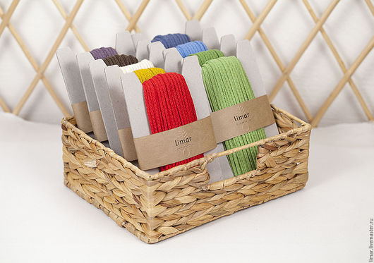 Шитье ручной работы. Ярмарка Мастеров - ручная работа. Купить Хлопковый плетеный шнур, 4 мм,  9 цветов. Handmade.
