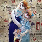 Мягкие игрушки ручной работы. Ярмарка Мастеров - ручная работа Коты неразлучники льняные с котенком. Handmade.