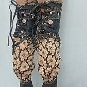 Обувь ручной работы. Ярмарка Мастеров - ручная работа Ботфорты джинсовые с кружевом. Handmade.