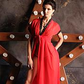 Одежда ручной работы. Ярмарка Мастеров - ручная работа Красный шифоновый пеньюар с черным кружевом. Handmade.